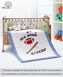 Babyhug Crib Bedding Set Sports Theme Small Pack Of 6 - Off White Blue