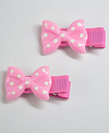 Little Miss Cuttie Set Of 2 Polka Bow Hair Clip - Pink