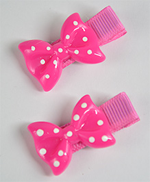 Little Miss Cuttie Set Of 2 Polka Bow Hair Clip - Hot Pink