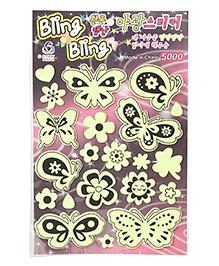 Butterfly & Flowers Shape Glow In The Dark Stickers - Green