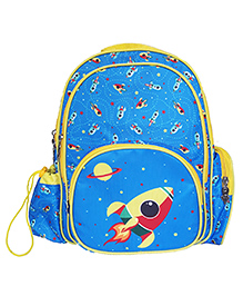 Little Jamun Backpack Rocket Print Blue - 16 Inches