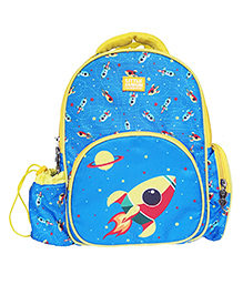 Little Jamun Backpack Rocket Print Blue - 13 Inches