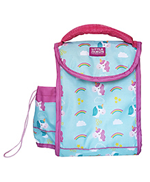 Little Jamun Rectangular Lunch Box Bag Unicorn Print Blue Pink - 12 Inches