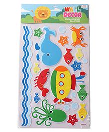 Fish & Multi Shape Wall Decor Sticker - Multi Color