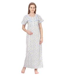 MomToBe Short Sleeves Printed Cotton Nursing Nighty - White & Blue