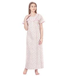 MomToBe Short Sleeves Printed Cotton Nursing Nighty - White & Pink