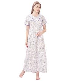 MomToBe Short Sleeves Printed Cotton Nursing Nighty - White & Purple