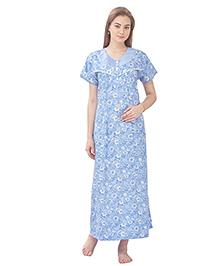 MomToBe Short Sleeves Printed Cotton Nursing Nighty - Blue