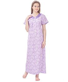 MomToBe Short Sleeves Printed Cotton Nursing Nighty - Purple