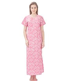 MomToBe Short Sleeves Printed Cotton Nursing Nighty - Pink