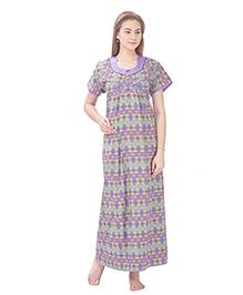 MomToBe Short Sleeves Printed Cotton Nursing Nighty - Purple & Green