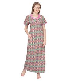 MomToBe Short Sleeves Printed Cotton Nursing Nighty - Pink & Green