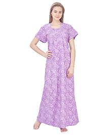 MomToBe Short Sleeves Cotton Nursing Nighty Allover Print - Purple