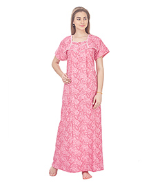 MomToBe Short Sleeves Cotton Nursing Nighty Allover Print - Pink