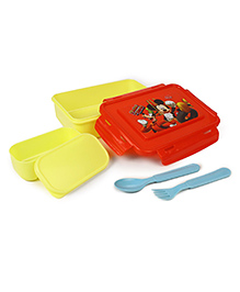 Disney Mickey Mouse & Friends Lunch Box With Fork And Spoon - Red Yellow