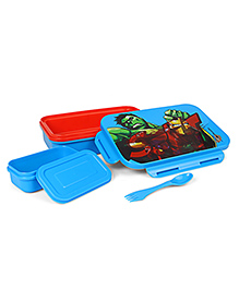 Marvel Avengers Lunch Box With Fork Spoon - Blue