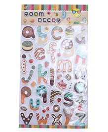 Small Case Alphabet Theme Room Decor Sticker - Multi Color