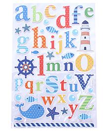 Alphabet & Light House Shape Wall Sticker - Multicolor