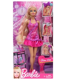 Barbie Glamorous Hair Barbie Doll Pink 29 Cm 3 Years+, Beautiful Fairy Doll For Your Little Girl's Fantasy World