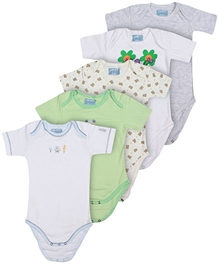 Carter - Set Of 5 Multi Print Onesies
