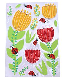 Flower & Ladybug Shape Room Decor Sticker - Orange Red