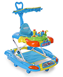 Musical Baby Walker With Canopy - Blue