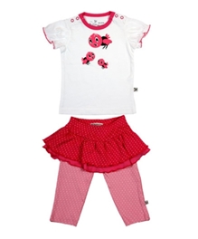 Buzzy - Short Sleeves Top Skirt And Legging Set