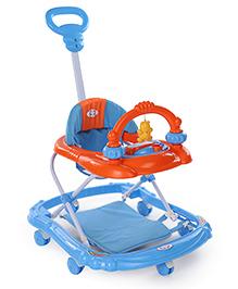 Musical Baby Walker With Parent Push Handle - Blue Orange