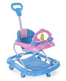 Musical Baby Walker With Parent Push Handle - Pink Blue