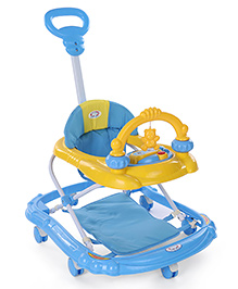 Musical Baby Walker With Parent Push Handle - Yellow Blue