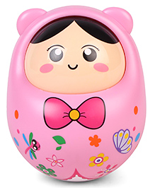 Musical Roly Poly Cartoon Face Print Toy - Pink