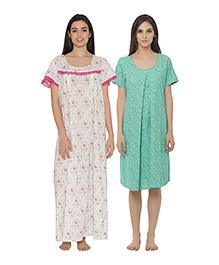 Clovia Short Sleeves Maternity Nursing Nighties Pack Of 2 - Green White
