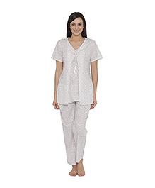 Clovia Short Sleeves Maternity Nursing Top And Pajama Floral Print - White