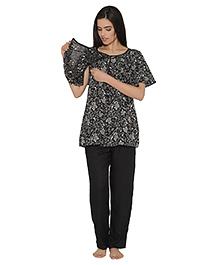 Clovia Half Sleeves Maternity Nursing Top And Pajama Floral Print - Black