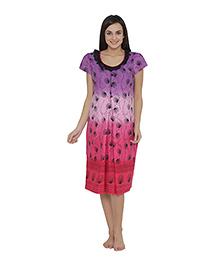 Clovia Short Sleeves Maternity Nursing Nighty Floral Print - Purple