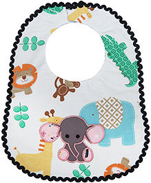 Princess & Her Bunny Embroidered Elephant Bib - Light Blue