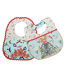 Princess & Her Bunny Princess Embroidered Bibs Set Of 2 - Multicolor