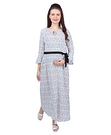 MomToBe Full Sleeves Rayon Maternity Dress Floral Print - White Blue