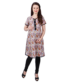 MomToBe Cotton Maternity Kurti - Beige & Red (Extra Extra Large)