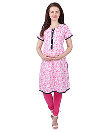 MomToBe Half Sleeves Cotton Maternity Kurti Floral Print - Pink - 2052037