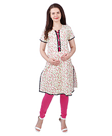 MomToBe Half Sleeves Cotton Maternity Kurti Floral Print - Pink