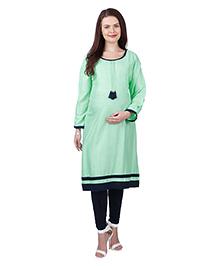 MomToBe Three Fourth Sleeves Rayon Maternity Kurti - Sea Green