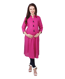 MomToBe Three Fourth Sleeves Solid Color Maternity Kurta - Pink