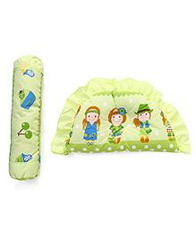Semi Circular Pillow And Bolster Set Girl Print - Green