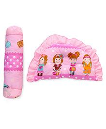 Semi Circular Pillow And Bolster Set Girl Print - Pink