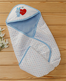 Baby Cotton Hooded Wrapper Rabbit Design - Blue