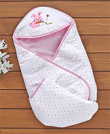 Baby Cotton Hooded Wrapper Rabbit Design - Pink