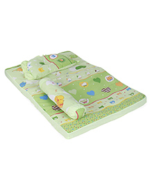 Baby Bed Set With Pillow And Bolster Kitty Print - Green