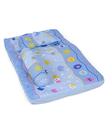 Baby Bed Set With Pillow And Bolster Multi Print - Blue