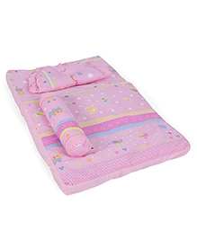 Baby Bed Set With Pillow And Bolster Hearts Print - Pink